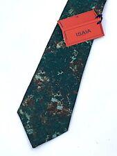 NEW ISAIA NAPOLI 7 Fold Tie NeckTie ITALY GREEN CAMO MARBLE WOOL / SILK $250 TAG