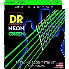 DR NGE-11 Coated Neon Green Electric Guitar Strings gauges 11-50
