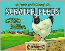 "TIN SIGN- ""SCRATCH FEEDS  "" FEED COMPANY CHICKENS   Barn Farm metal Sign"