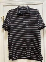 RLX RALPH LAUREN Mens Black Pink Stripe Logo Polo Shirt Size Large