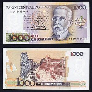 Brasile / Brasil - 1000 cruzados on 1 cruzado novo 1987(88) qFDS/UNC-  B-05