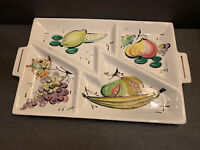 VTG Divided Hand Painted Large Fruit Ceramic serving platter Italy pottery 18""
