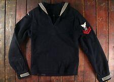 Vintage'71 Us Navy Blue Lana Vestido de uniforme Jersey Jumper Crackerjack Disfraz 38XL