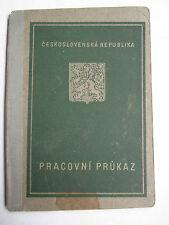 Employment Record Book Work ID Czechoslovakia 1947 Arbeitsbuch Livret d'ouvrier
