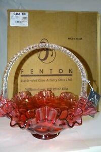 Fenton Ros\u00e9 Handpainted Basket #745