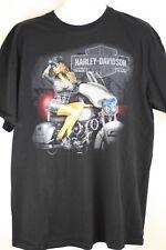 Mens Black Harley Davidson Sexy Cop Girl Motorcycle Short Sleeved Shirt Size XL