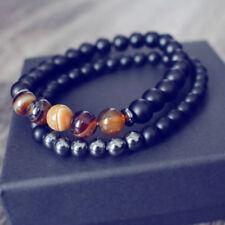 Fashion Mens Lucky Gem Onyx Mantra Prayer Bracelet Stainless Steel Beads Jewelry
