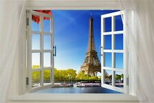 SCENIC POSTER WINDOW ONTO PARIS 24X36 eiffel tower river boats unique view