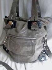 B. MAKOWSKY leather hobo satchel shoulder tote bag GRAY shimmer purse Celebrity