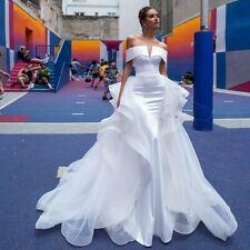 Neu Abnehmbarer Zug Brautkleid Ballkleider Satin Meerjungfrau Hochzeitskleider
