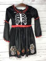 Girls Day Of The Dead Skeleton Halloween Sugar Skull Fancy Dress Costume