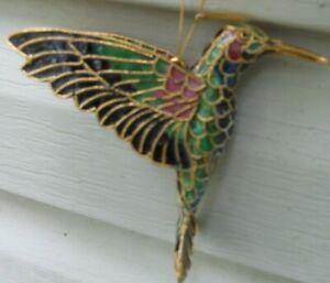 "Multi Colored Cloisonné Hummingbird Hanging Decoration 3 1/2"" tall"