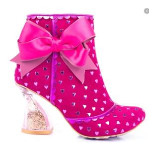 Irregular Choice Outta Time Hot Pink Glitter Boots 11.5