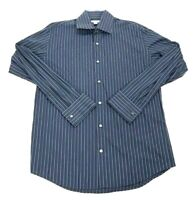 Banana Republic Mens Button Front Shirt Blue Stripe Long Sleeve 100% Cotton L