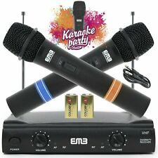Vocal Karaoke Wireless Microphone System Dual Handheld 2 x Mic Cordless Receiver