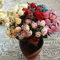 15 Heads Artificial Silk Rose Bouquet Fake Flowers Leaf Wedding Party Home Decor
