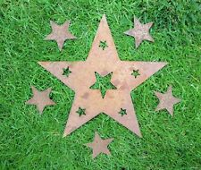 A Rusty Metal STAR with Star Cut Outs + 5 x SMALL STARS Garden Ornament Rustic