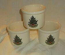 3 Pfaltzgraff CHRISTMAS HERITAGE Cheese Crocks Ramekins Holiday Tree