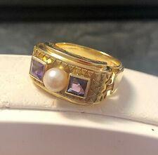 Antiker Amethystring + Perle 585er Gold Ring Goldkugeln Handarbeit Amethyst