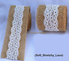 Christmas Gift Wrap Tie Natural Hessian Burlap Jute Rustic Inner Laced Ribbon