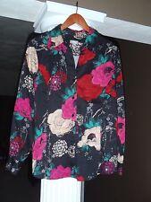 CHICO'S Black Fushia Bold Floral Button Down Shirt Cotton/Spandex Size 2(12-14)