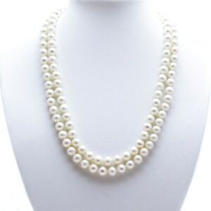 """Long Pearl Necklace White Cultured Freshwater Near Round Pearls 50"""" Opera Length"""