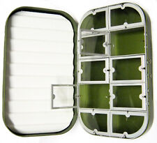Aluminum Green Satin 10 Compartment Fly Box Nymphs Wet Dry Flies Rods Reels Nets