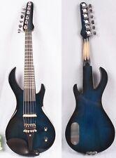 New 6 string 4/4 Electric Violin Fretboard guitar shape Violin Bow Case Blue