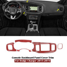 Red Carbon Fiber Inner Console Dashboard Panel Cover Trim for Dodge Charger 15+