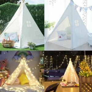 Cotton Canvas Kids Teepee Indian Tent Children Wigwam Indoor Outdoor Play House