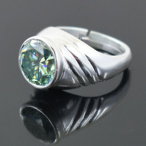 4.16 Ct Certified Blue Diamond Solitaire Man Ring in Heavy Setting,Excellent Cut