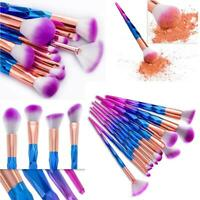 12PC Unicorn Diamond Make up Brushes Set Foundation Eyeshadow Eyeliner Powder UK