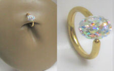 Gold Titanium AB Crystal Ball Captive Hoop Belly Navel Ring 16 gauge 16g 8 mm