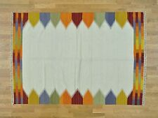 """5'5""""x7'10"""" Ivory Durie Kilim Flat Weave Pure Wool Hand Woven Rug G30077"""