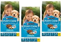 (3 Bags) Purina Puppy Chow Complete Dog Food Real Chicken Healthy Joints 4.4 lb