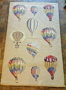 Vintage Large Beige Berber Style Tight Weave Hook Rug Hot Air Balloon Parade