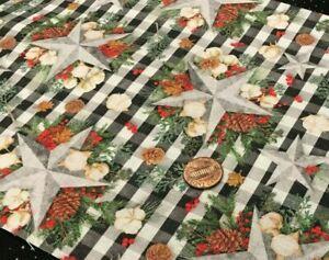 Christmas Floral Arrangement*Silver Star*Pine Cones*Springs Creative*100% Cotton