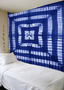 Mandala Tapestry Cotton Hippie Wall Decor Bedspread Tie Dye Blue Wall Hanging