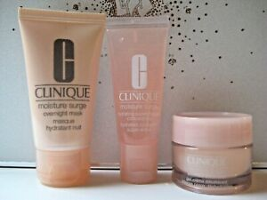 3 pc CLINIQUE Moisture Surge Extended Thirst Relief, Overnight Mask, Concentrate
