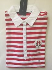 NWT Women's Tommy Hilfiger Classic fit Polo Shirt Short sleeve White Red- Small