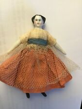 Antique miniature all original china doll circa 1870's 3.5 inches
