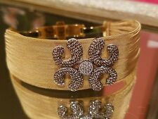 ~Over $1K Retail DIAMANTE CZ Sterling Silver 24K Gold Plated CUFF Bracelet