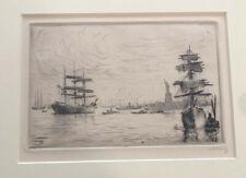Antique Etching Print Coastal Seascape Scene 1917 NY Harbor Signed