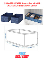 2 Small IKEA STORSTABBE Storage Box with Lid, 20X37X15CM Blue & White Colour
