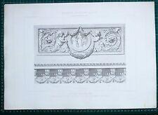 1880 FRENCH Architecture imprimé style Louis XVI Voussure du plafond d'un salon