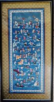 Antique Chinese embroidered silk stitched tapestry panel of Hundred boys 百子图