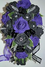 Fleurs De Mariage Bouquet violet & noir roses avec diamante Gothique