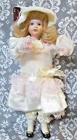 Holiday Elegance Porcelain Doll 037847 Blonde Hair Victorian Dress (Read)