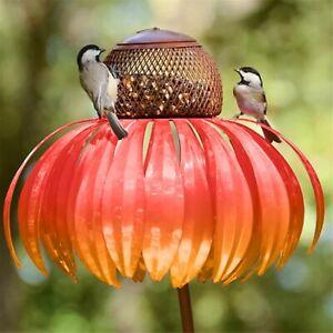 Rust Resistant Red Coneflower Standing Bird Feeder Garden Yard Decoration CAN
