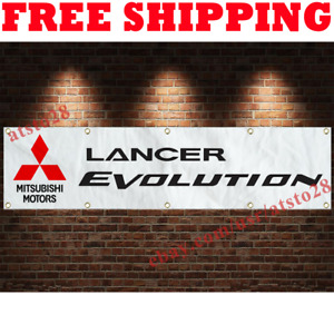 Mitsubishi Lancer EVO Banner Flag 2x8 ft Car Show Garage Wall Decor Sign 2021